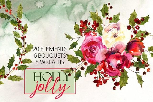 wedding photo - Holly Steams Christmas Watercolors
