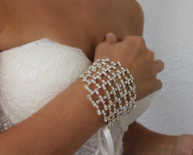 wedding photo - rhinestone bracelet, wedding cuff, crystal jewelry, cuff bracelet, gift for her, bridesmaid gift