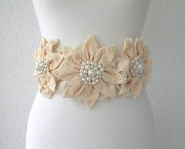 wedding photo - flower sash belt, bridal sash, wedding accessories, bridal pearl