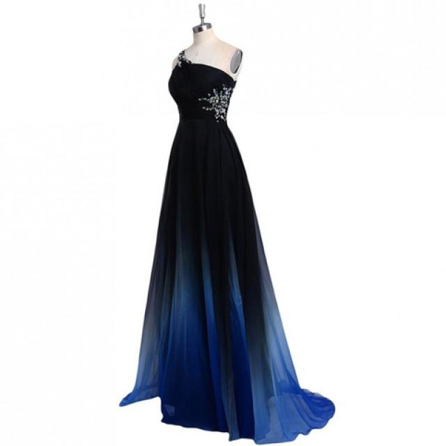wedding photo - Dreamy A-line One Shoulder Sweep Train Chiffon Prom/Evening Dress With Beads from Tidetell