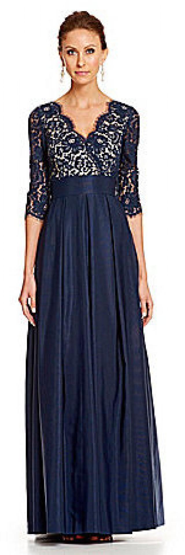 Eliza j ruched lace illusion dress
