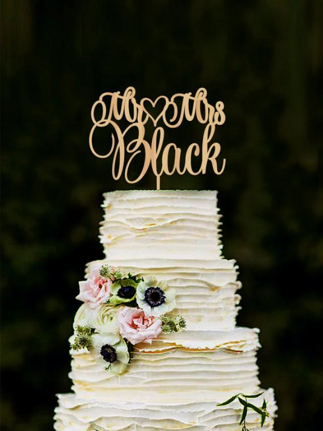 wedding photo - Mr Mrs Wedding Cake Topper Custom Last Name Personalized Wood Cake Topper Rustic Wedding Gold cake topper