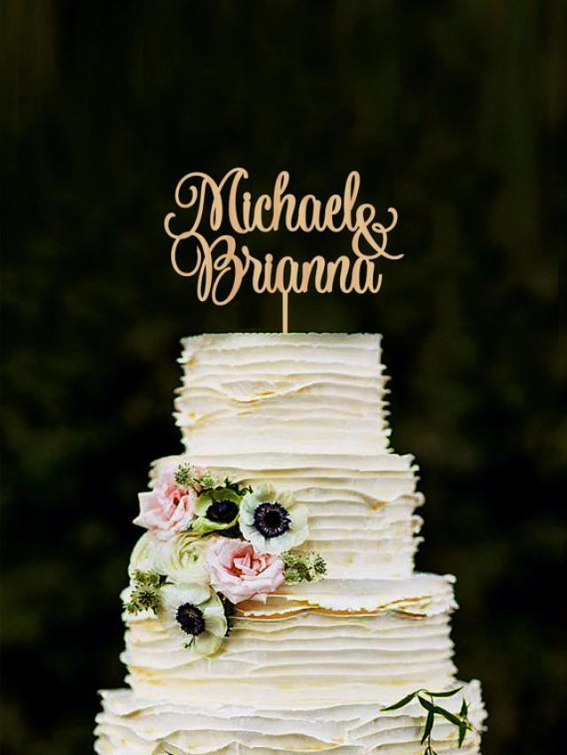 wedding photo - Wedding Cake Topper Personalized Names Cake Topper Custom Cake Topper Wood Cake Topper Silver Cake Topper Gold Cake Topper