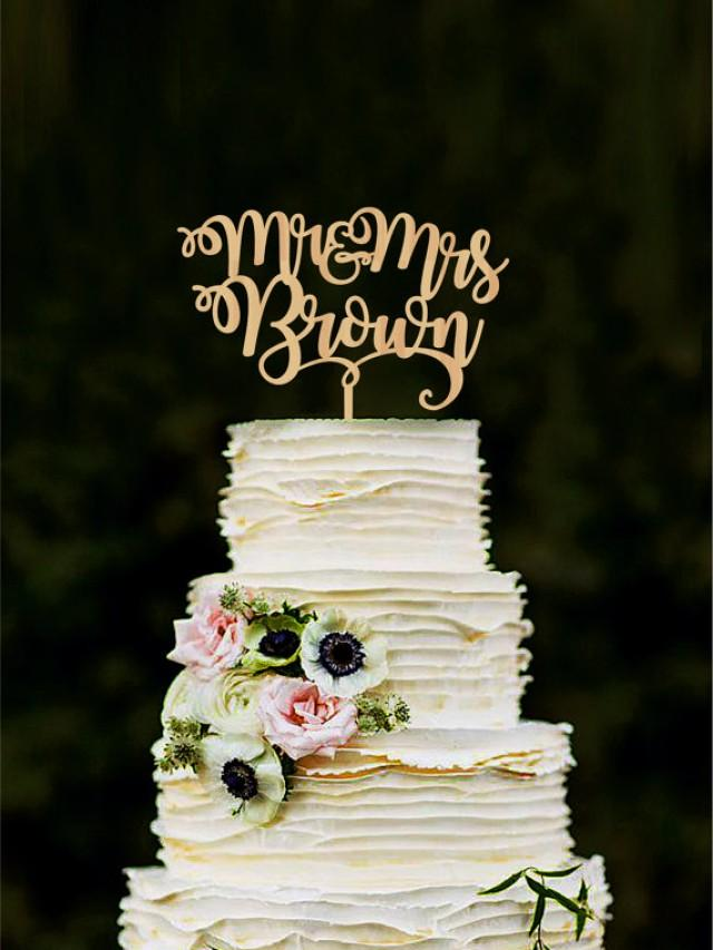 wedding photo - Mr and Mrs wedding cake topper with last name custom bride and groom cake topper personalized cake toppers for wedding gold topper wood