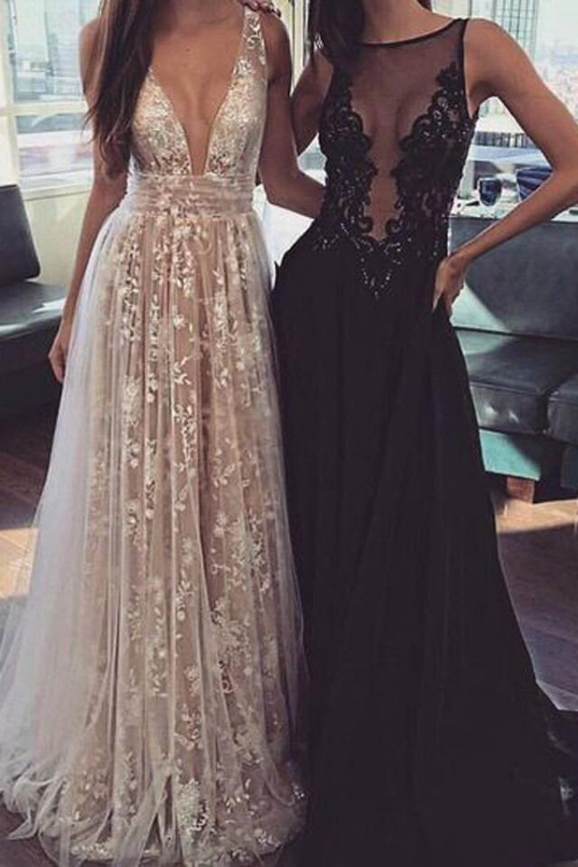 wedding photo - Elegant Champagne A-Line V-Neck Sleeveless Appliques Long Prom Dress