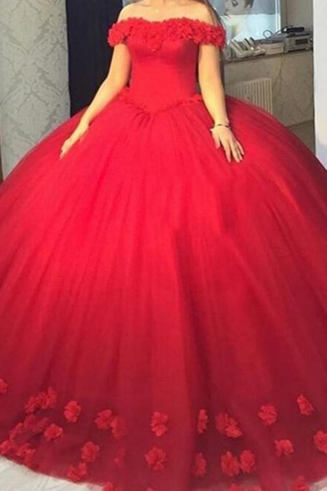 wedding photo - Stylish Off Shoulder Floor-Length Ball Gown Red Prom Dress with Flowers