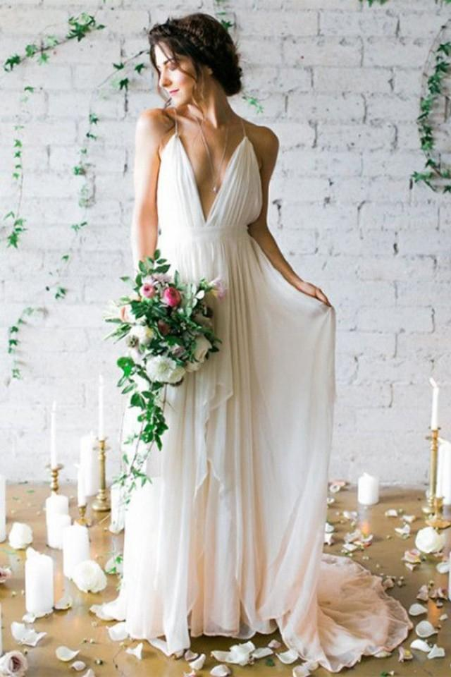 wedding photo - Simple Deep V-neck Sweep Train Wedding Dresses With Straps WD010