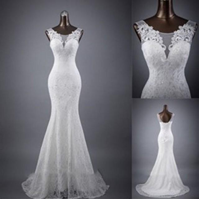 wedding photo - Elegant Sleeveless Mermaid Lace Up Popular White Lace Wedding Dresses, WD0142
