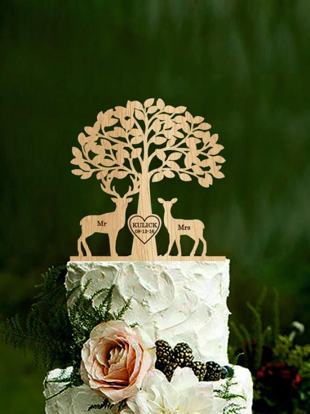 wedding photo - Mr & Mrs Deer Cake Topper Wedding Cake Topper Deer Cake Topper with tree Buck and Doe Rustic Country Chic Wedding custom wood cake topper
