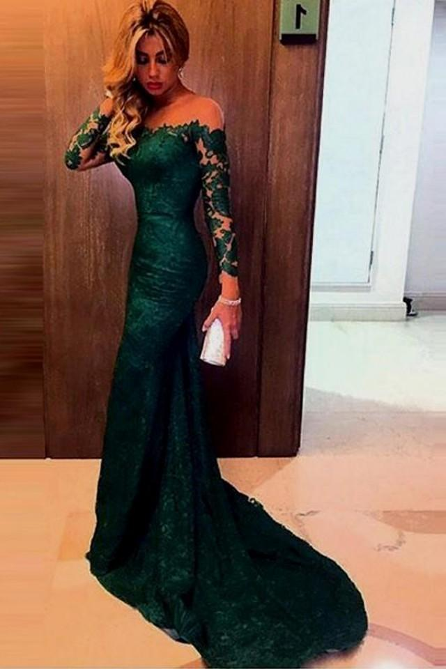 wedding photo - Charming Off-the-shoulder Dark Green Mermaid Lace Prom Dress with Long Sleeves