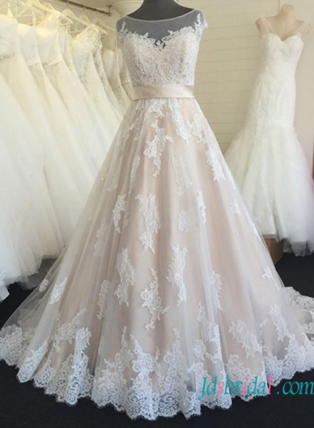 Beautiful Sheer Tulle Bateau Neck Champagne Colored Wedding Dress