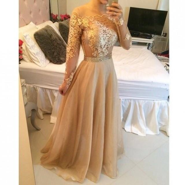 wedding photo - Fancy Scoop Champagne Lace Prom Dress with Long Sleeves from Tidetell