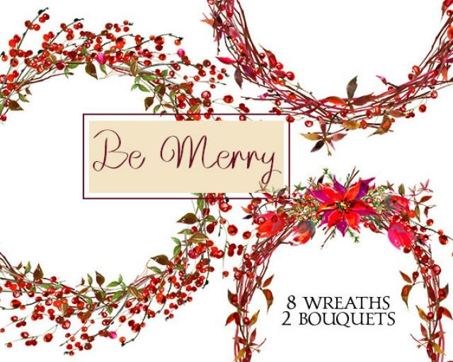 wedding photo - Christmas Wreaths Clipart Watercolor Poinsettia Berries Digital Floral Bouquets Clip art Wedding Invitation Transparent Background PNG