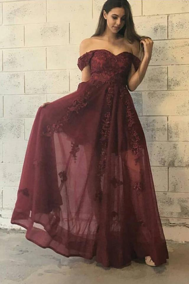 wedding photo - Trendy Off Shoulder Floor Length Burgundy Prom Dress with Appliques