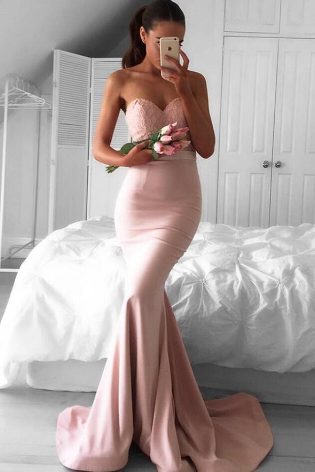 wedding photo - Stunning Sweetheart Sweep Train Pink Mermaid Prom Dress Lace Top