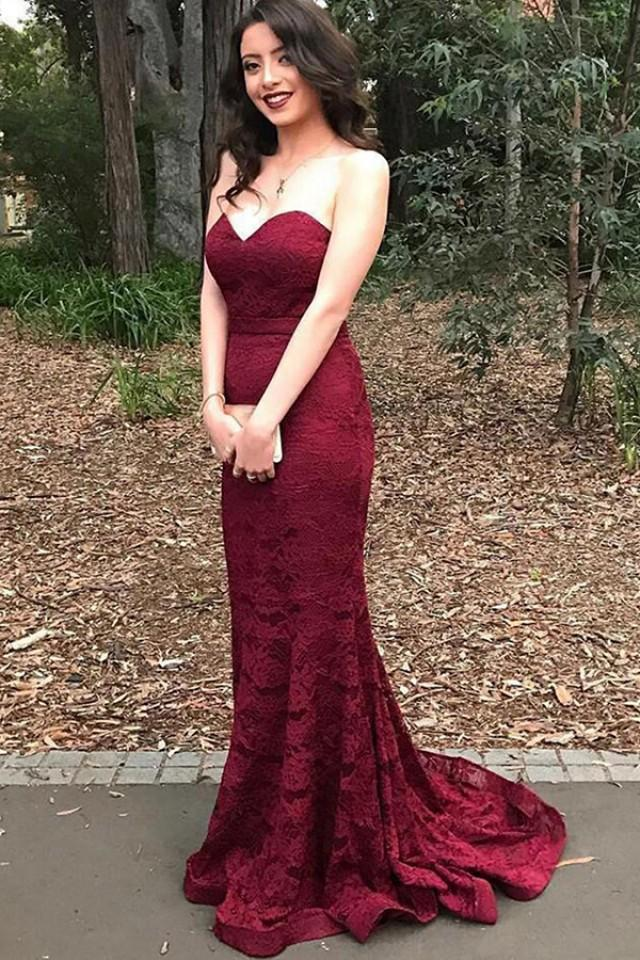 wedding photo - Stylish Sweetheart Mermaid Sweep Train Burgundy Lace Prom Dress