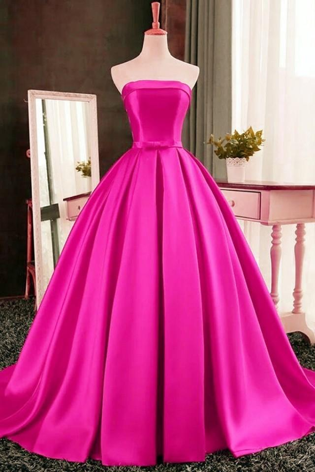 wedding photo - Elegant Strapless Sweep Train Ball Gown Red Pleats Prom Dress with Bow