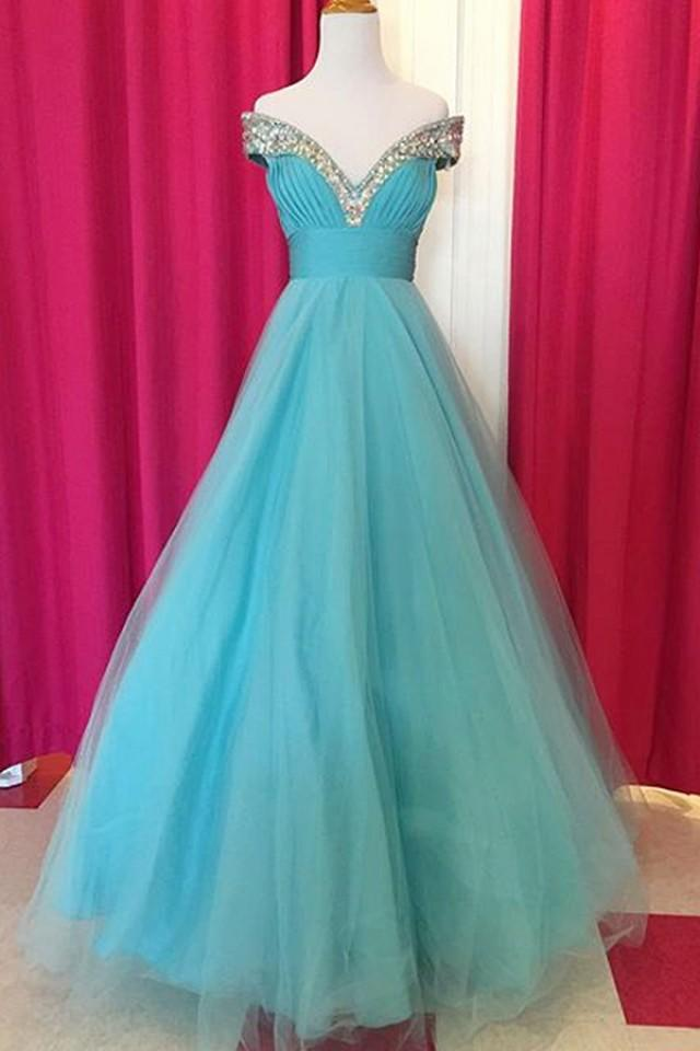 wedding photo - Fabulous Off Shoulder Floor Length Blue Ruched Prom Dress with Beading