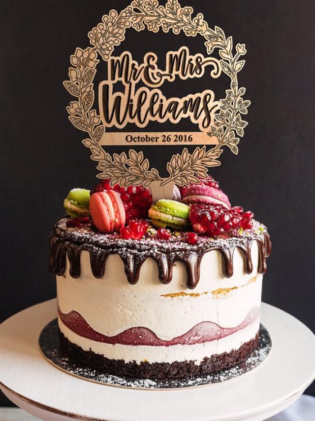 wedding photo - Last Name Cake topper. Wedding Cake Topper. Custom Surname Wooden Cake Topper. Rustic Wedding Cake Topper. Engraved bride and groom surname