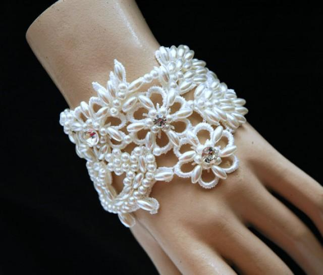 Bridal Beaded Pearl Cuff Bracelet, White Lace Wedding ...