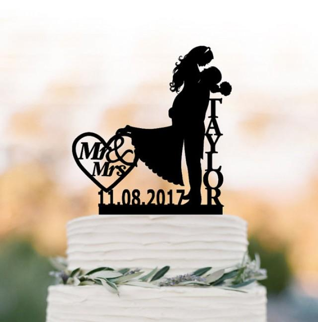 wedding photo - Bride and groom Wedding Cake topper mr and mrs, silhouette wedding cake topper custom name, personalized cake topper with date