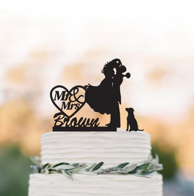 wedding photo - Mr And Mrs Wedding Cake topper with dog, groom kissing bride with personalized name cake topper. unique wedding cake topper, topper wit pet