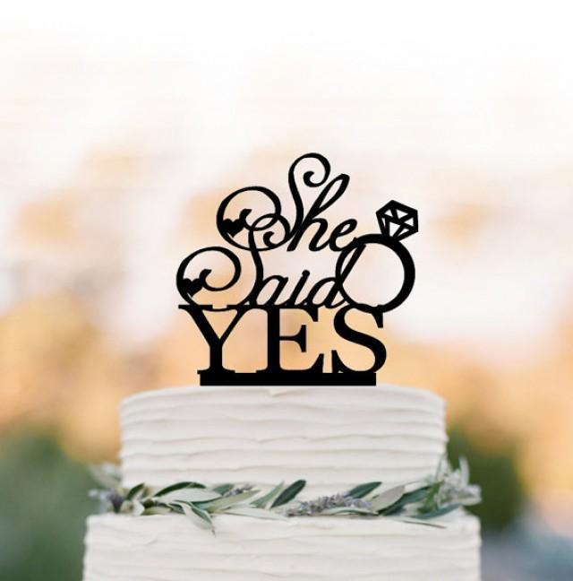 wedding photo - She Said Yes bridal Shower Cake topper with wedding ring, Briday party cake topper, unique cake topper for wedding bridal shower table decor