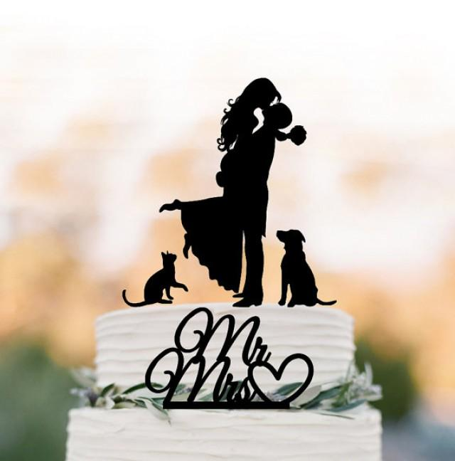 wedding photo - Wedding Cake topper with dog and cat, silhouette wedding cake toppers, two tier wedding cake toppers with pets mr and mrs cake topper