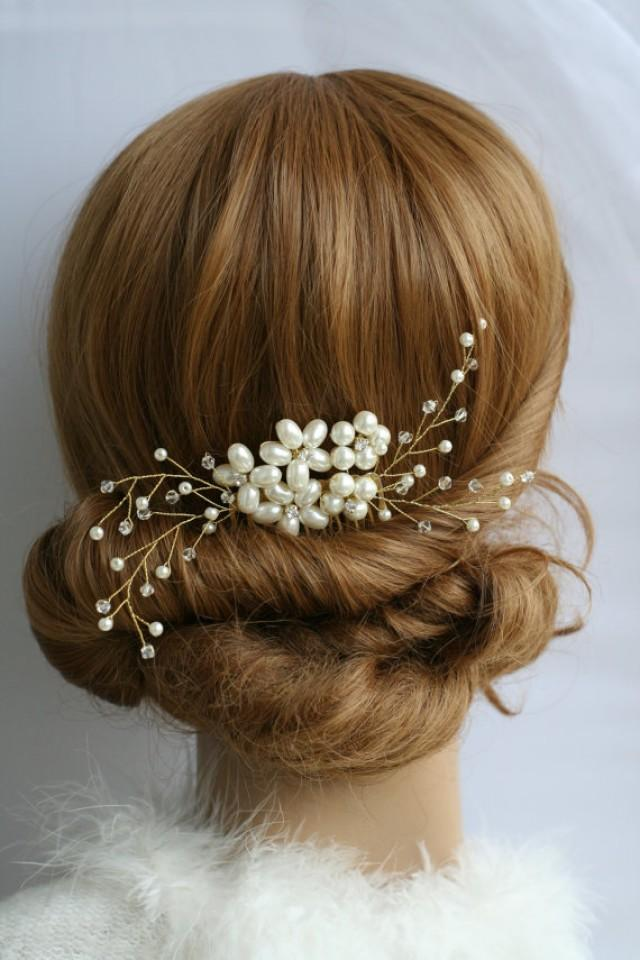 wedding photo - Pearl Comb Wedding hair comb Bridal hair comb pearl Bridal hair accessories Bridal hair comb Pearl headpiece Gold comb