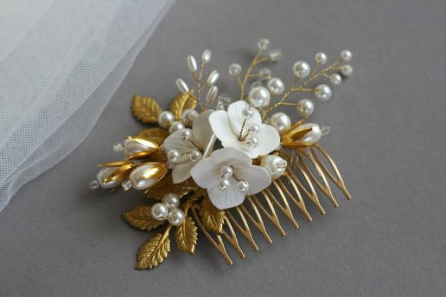 wedding photo - Bridal hair accessory Bridal hair comb Wedding flower comb Bridal flower comb Flower comb Gold hair comb
