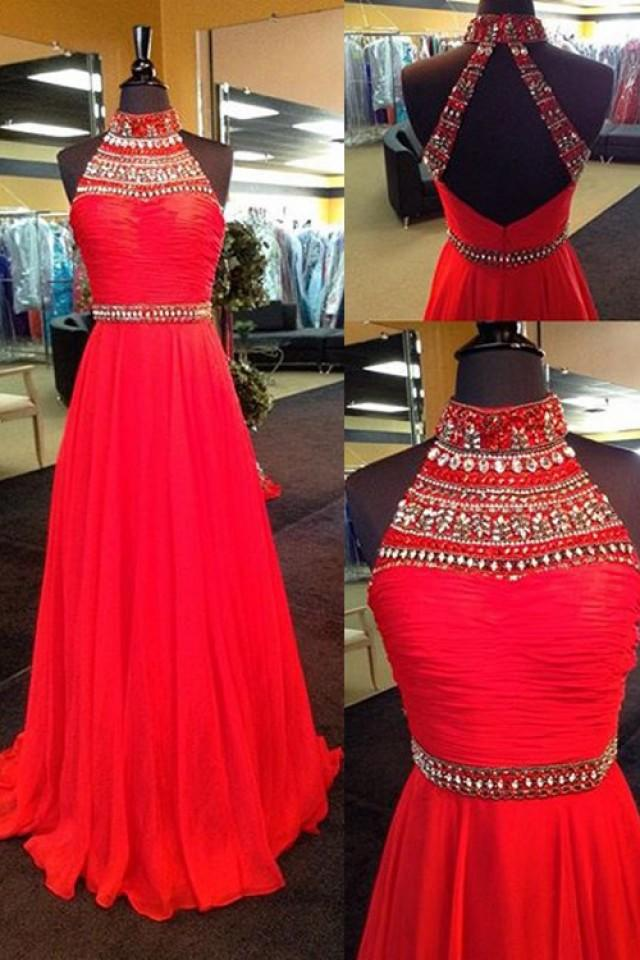 wedding photo - Sexy Halter Sweep Train Chiffon Backless Red Prom Dress With Rhinestone