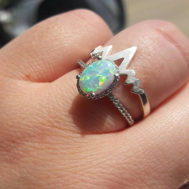 wedding photo - Opal Ring Sterling Silver size 4 5 6 7 8 9 10 11 12 October Birthday October Birthstone Jewelry  Silver White Opal Rings - Simulated Diamond