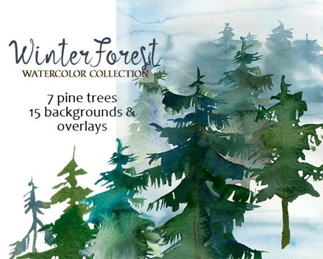 wedding photo - Pine Trees Watercolor Clipart Fur Trees PNG Christmas Winter Forest Landscape Clip Art Collection Free Commercial Use DIY Wedding Invitation