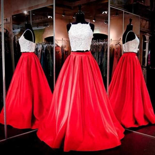 wedding photo - Gorgeous Two-piece Square Neck Red Floor-Length Prom Dress with Lace from Tidetell