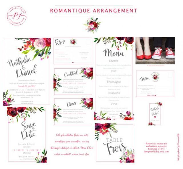 wedding photo - Wedding stationery set to print - pdf - Save the date, Invitation, rsvp, table numbers, menu-thanks - ROMANTIC ARRANGEMENT