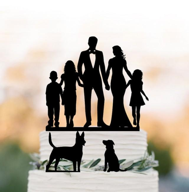wedding photo - two tier bride and groom high five Wedding Cake topper with child, family wedding cake topper with girls, topper with dogs