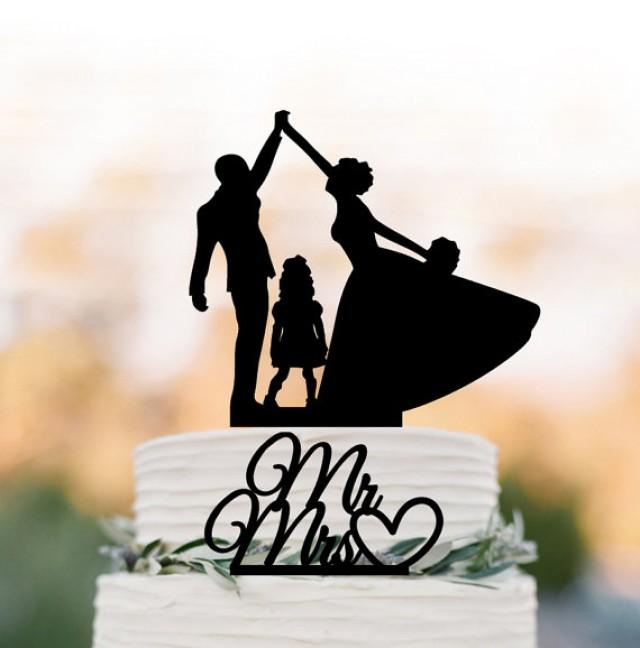 wedding photo - two tier bride and groom high five Wedding Cake topper with child, family wedding cake topper with girls, mr and mrs cake topper