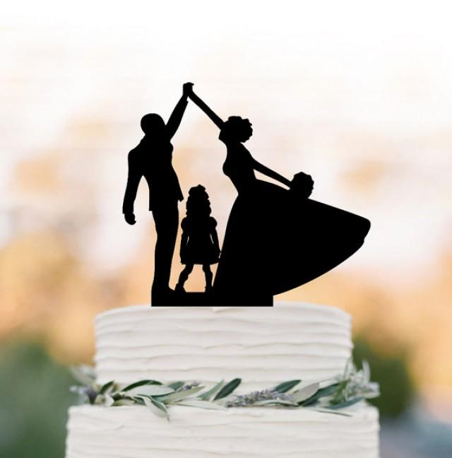 wedding photo - bride and groom high five Wedding Cake topper with child, family silhouette wedding cake topper with girls cake topper
