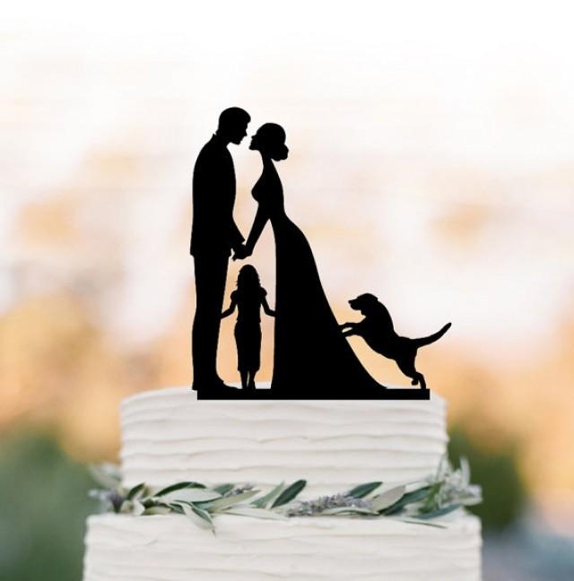 wedding photo - bride and groom Wedding Cake topper with child, family silhouette wedding cake topper with dog and girls cake topper