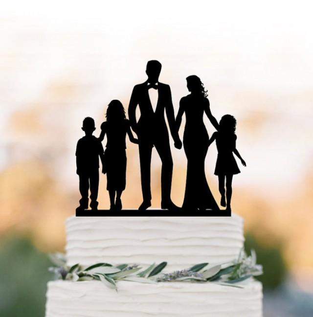 wedding photo - bride and groom Wedding Cake topper with child, family silhouette wedding cake topper with boy and two girls cake topper