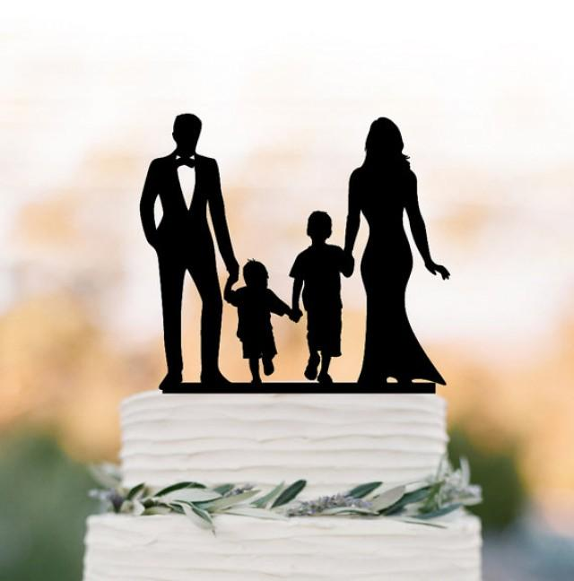 wedding photo - bride and groom Wedding Cake topper with child, family silhouette wedding cake topper with two boy wedding cake topper birthday gift
