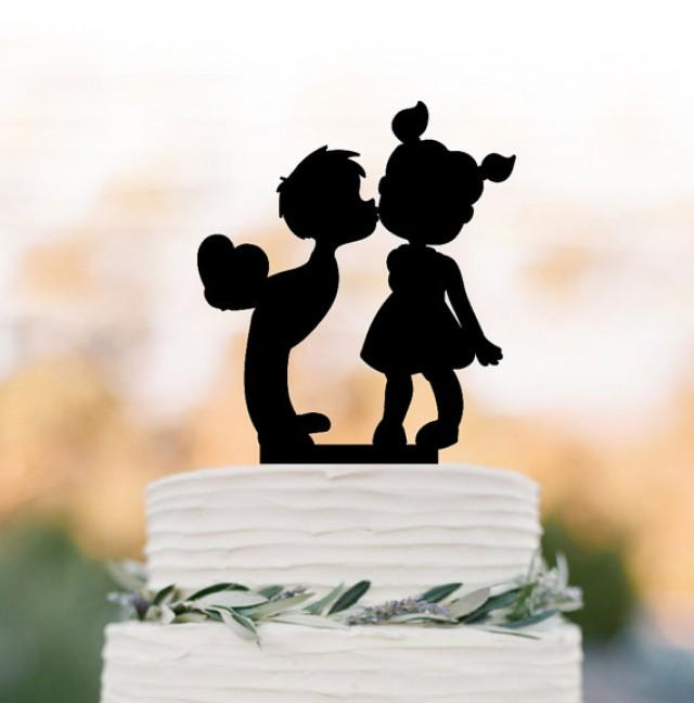 wedding photo - two kids in love Wedding Cake topper, silhouette birthday cake topper, boy kissing the girl wedding cake topper birthday gift