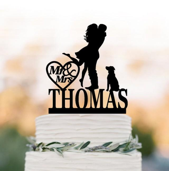 wedding photo - Personalized Wedding Cake topper with dog, silhouette wedding cake topper custom name, Bride and groom wedding cake topper with mr and mrs