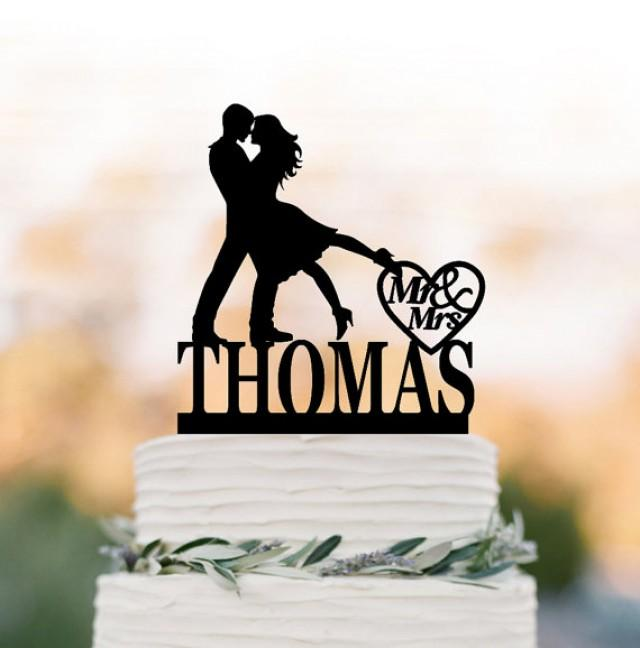 wedding photo - Personalized Wedding Cake topper mr and mrs, silhouette wedding cake topper custom name, Bride and groom cake topper