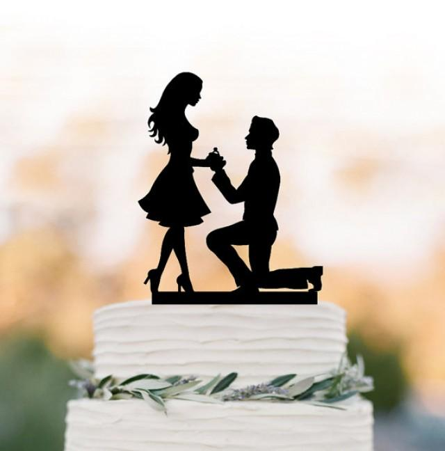 wedding photo - Engagement Cake topper funny, silhouette cake topper with wedding rings, unique custom cake topper for wedding, Just married cake topper