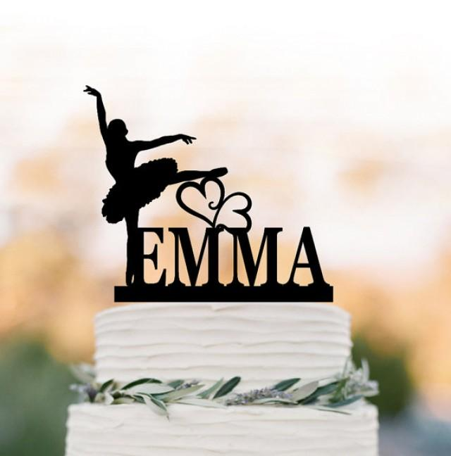 wedding photo - Ballerina birthday cake topper, personalized cake topper, Litle girl dancer birthday gift, unique cake topper for wedding, custom name