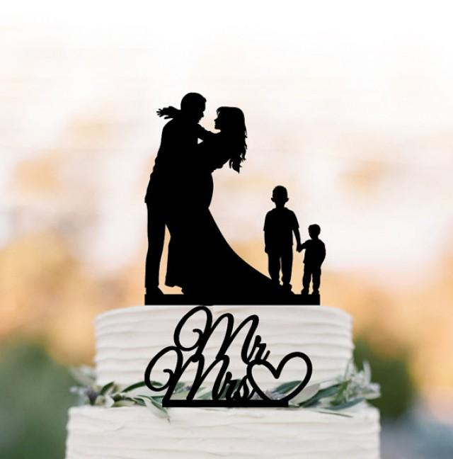 wedding photo - Family Wedding Cake topper with two boy, silhouette wedding cake toppers, two tier wedding cake toppers with child mr and mrs cake topper