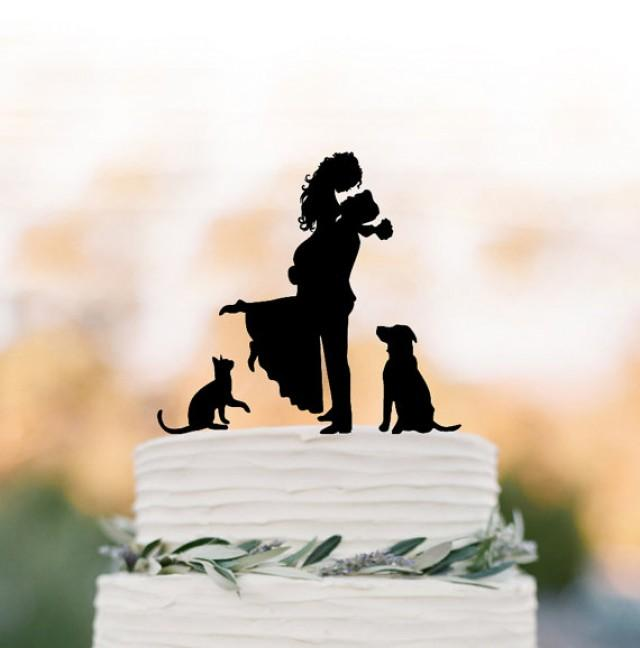wedding photo - Bride and groom silhouette Wedding Cake topper with cat, topper with dog cake topper for wedding, groom lifting bride