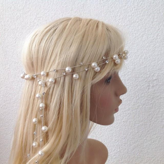 wedding photo - Bridal Headband, wedding head piece, pearl and rhinestone tiara, brides accessories, gift for her