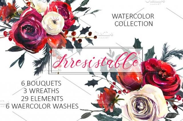 wedding photo - Red Roses Watercolor Clipart Set